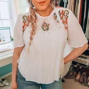 Zara Embroidered Flutter Sleeve Blouse